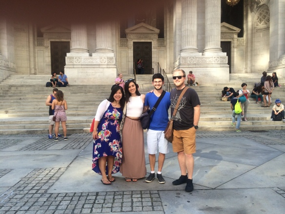 Outside NY Public Library with Melissa, Gaia, and Ryan. Evidently a poor choice of photographer.