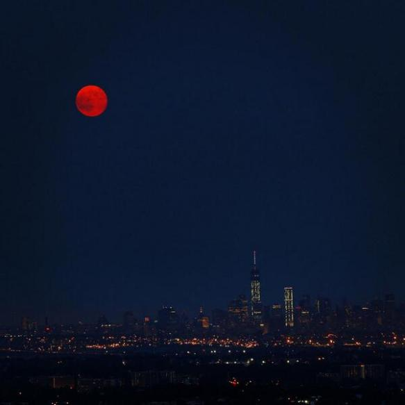 Supermoon over Manhattan